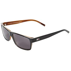 Tommy Hilfiger Th1042ns Rectangle Sunglasses,Black & White Horn,57 mm