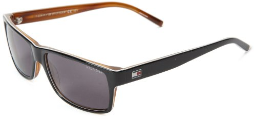Tommy Hilfiger Th1042ns Rectangle Sunglasses,Black & White Horn,57 - Tommy Ladies Hilfiger Sunglasses