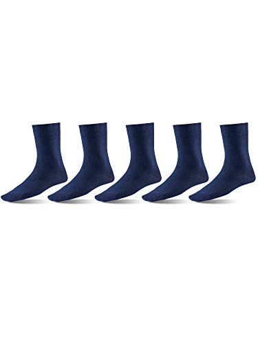 Mat & Vic's Men's Dress Socks, European, Cotton, Classic Crew, also Women's Sizes, 5-pack Navy Blue ()