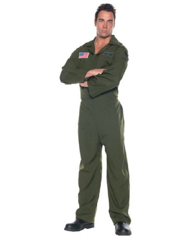 Flight Suit Halloween Costumes (Men's Air Force Costume - Jumpsuit, Dark Green, One Size)