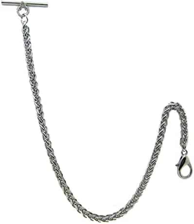 Albert Chain Pocket Watch Heavy Wheat Spiga Rope Chain Silver Color with T Bar AC107