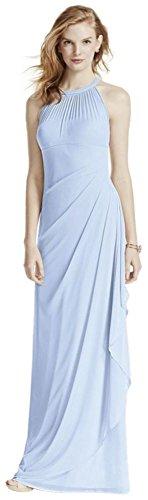 Clothing Illusion Blue - David's Bridal Long Mesh Bridesmaid Dress with Illusion Neckline Style F15662, Ice Blue, 10