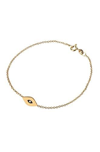 14k gold evil eye bracelet, solid gold enamel evil eye