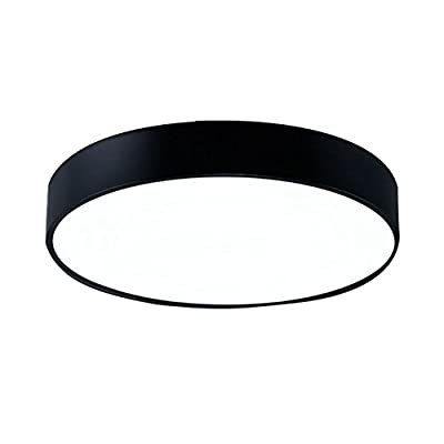 Nclon Ceiling lamp led,Ceiling lamp Circular iron Creative Living room lamp Corridor lamp study restaurant Hallway Balcony-black 40cm(16inch)