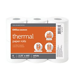 Office Depot Thermal Paper Rolls, 2 1/4in. x 165ft, White, Pack Of 6, 108610