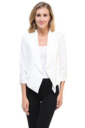 (Auliné Collection Womens Casual Lightweight 3/4 Sleeve Fitted Open Blazer Off White XL)