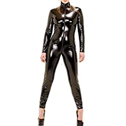 Red Dot Boutique 566 Plus Size Spandex Wetlook Bodysuit Catsuit Jumpsuit Costume Black