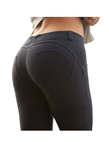 Bestgift Women's Cotton Super Stretch Solid Color Shaping Legging Pants Black L