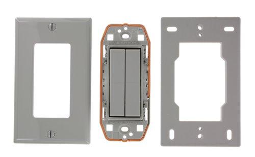 Leviton WSS0S-D2G 1-Gang Dual Rocker Decora Switch, Gray by Leviton