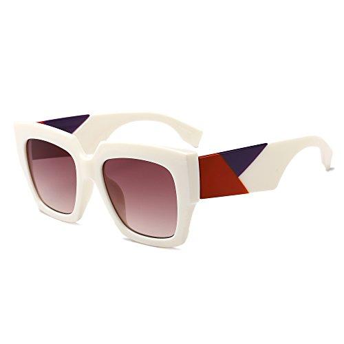 (Gobiger Trendy Luxury Square Oversized Sunglasses for Women Brand Designer Shades (White Frame/Gradient Brown Lens))