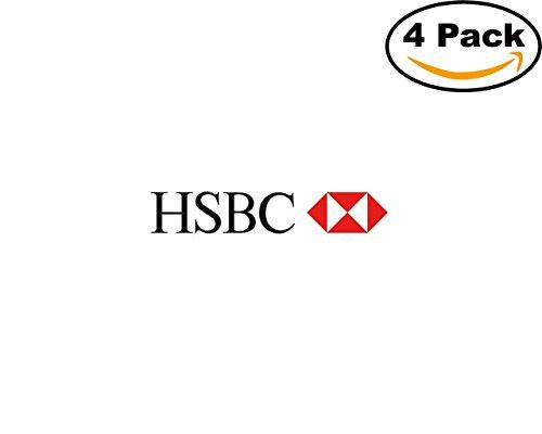 Hsbc Logo 4 Stickers 4X4 Inches Car Bumper Window Sticker Decal