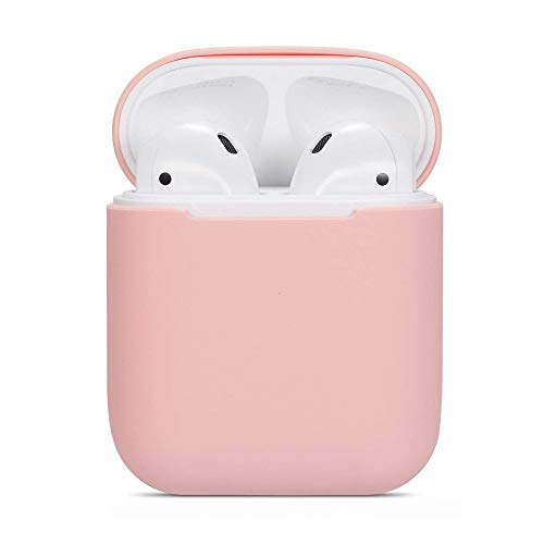 AirSha Compatible for AirPods Case, 0.8mm Ultra-Thin Version[Front LED Visible][Support Wireless Charging], Premium Protective Silicone Cover Skin for AirPods Charging Case 2 & 1 (Pink)