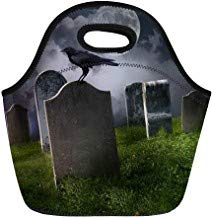 Halloween Graveyard Food (Vontuxe Insulated Neoprene Lunch Tote Bag Halloween Cemetery Old Gravestones Moon and Black Raven Graveyard Outdoor Picnic Food Handbag Lunch Box for Men Women)