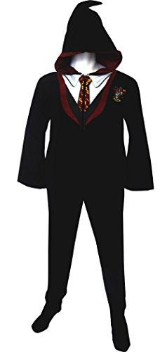 Harry Potter Gryffindor House Uniform Hooded Footie Pajama for men (Medium)