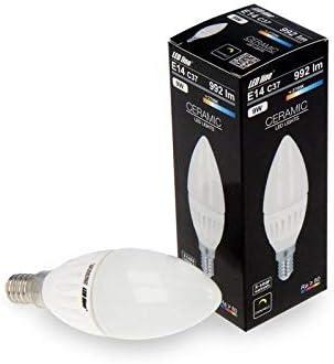 Pack de 6 bombillas LED E14 C37. Bombilla de luz blanca neutra. Forma: vela de 9 W, 992 lúmenes.: Amazon.es: Iluminación
