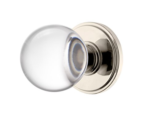 (Decor Living, AMG and Enchante Accessories Clear Crystal Ball Door Knobs with Lock, Privacy Function for Bed and Bath, Apollo Collection, DK07L-PR NKL, Polished)
