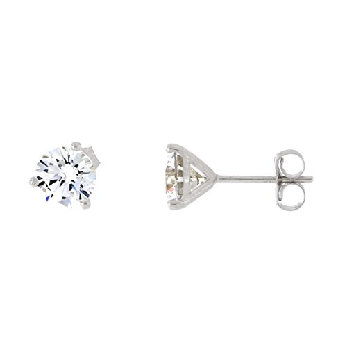 14k White Gold Three Prong Martini Set Round AAA Cubic Zirconia Stud Earrings, 6 Millimeters ()