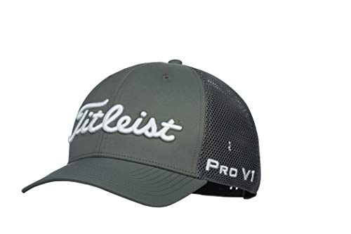 Titleist Men's Tour Performance Mesh Golf Hat, Charcoal/White