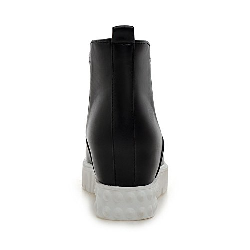 AllhqFashion Womens Solid Kitten-Heels Round Closed Toe PU Pull-on Boots Black j7jq1CPNU