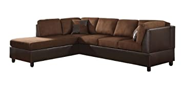 Excellent Homelegance 9909Ch 3 Comfort Living Sectional Collection With 2 Pillows Chocolate Rhino Microfiber And Dark Brown Faux Leather Ocoug Best Dining Table And Chair Ideas Images Ocougorg