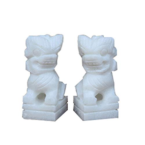 A Pair of Mini Stone Beijing Lions Pair Fu Foo Dogs Statues,White Guardian,Chinese Feng Shui Decor,for Home and Office, Attract Wealth and Good Luck