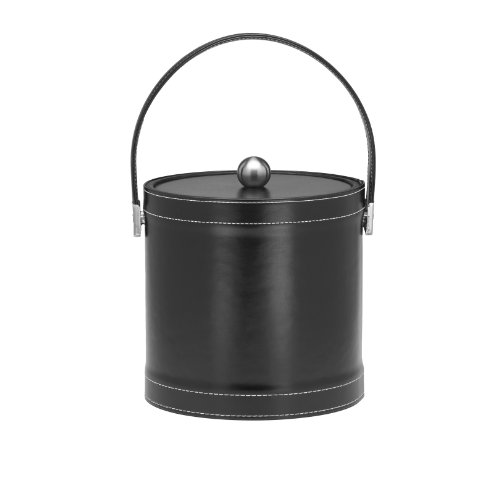 (Kraftware Ice Bucket with Stitched Handle, Fabric Lid and Chrome Astro Ball Knob, Black - 3 Quart)