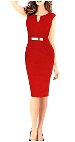 Coolred Career Sexy V Neck Womens Dress Skinny Sleeveless Mid Red Bodycon n8aP7r8