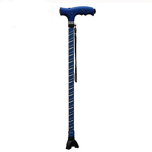 Telescopic Cane Outdoor Anti-Skid Cane Aluminum Gan Cane Multifunctional LED Lighting Cane Blue Pattern Telescopic Cane Adjustable Height 60~95 Cm Cane