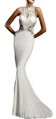 NuoReel Open Back Fine Flowers Wedding Evening Gown