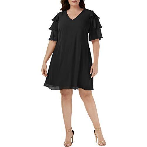 Calvin Klein Women's Plus Size Tiered Sleeved V-Neck Chiffon Shift Dress, Black, 16W