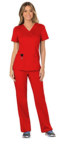 (Cherokee Workwear Revolution Women's Medical Uniforms Scrubs Set Bundle - WW610 Mock Wrap Scrub Top & WW110 Pull On Scrub Pants & MS Badge Reel (Red - Medium/Large Tall))