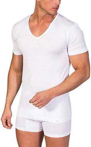 ZD ZERO DEFECTS Camiseta Interior de Hombre de Manga Corta y Cuello Pico Hilo de Escocia: Amazon.es: Ropa y accesorios