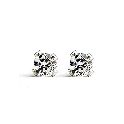 3mm Tiny Crystal Clear Cubic Zirconia CZ Gemstone Stud Earrings in Sterling Silver - April Birthstone