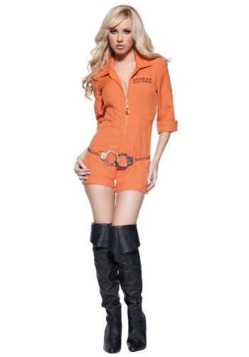 Women's Sexy Prisoner Costume - Busted, Orange, Medium (Female Prisoner Costume)
