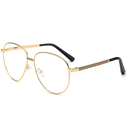 designer glasses frames for men y3xw  SojoS Aviator Clear Lens Metal Frame Men Women Glasses Eyeglasses Eyewear  SJ5004 With Gold Frame/Clear Lens