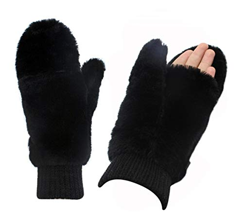 Women Winter Faux Fur Flip Cover Mittens Warm Soft Half Finger Fingerless Gloves