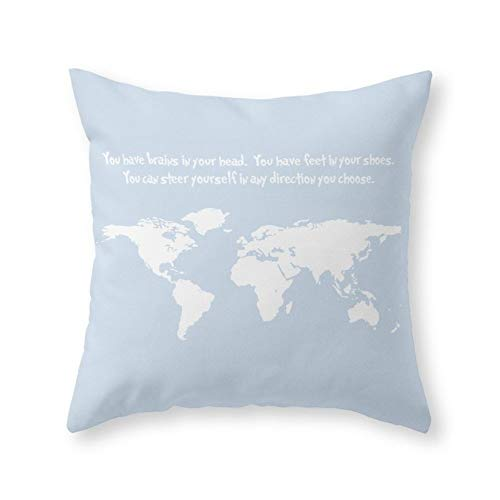 Dr. Seuss Inspirational Quote with Earth Outline Throw Pillow Indoor Cover (18