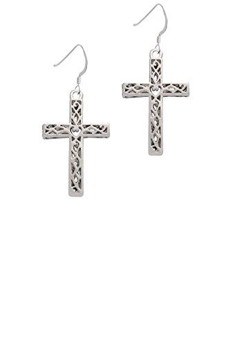 Large Celtic Vine Cross - French Earrings