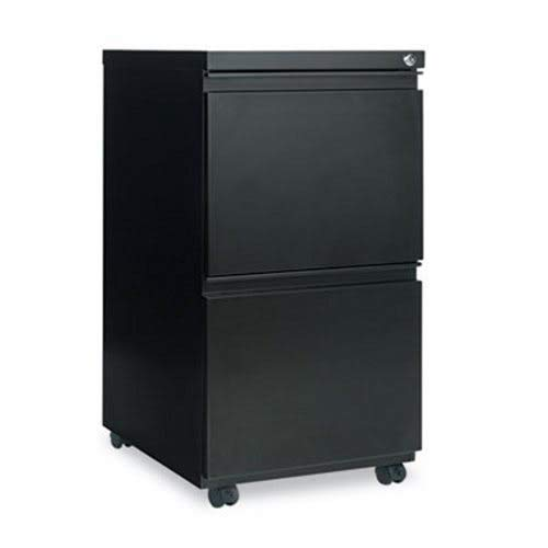Alera Two-Drawer Metal Pedestal File With Full-Length Pull, 14-7/8w x 19-1/8d, Black