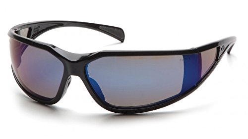 Pyramex SB5175DT Exeter Safety Glasses Blk Frme w/Blu Mirror A/Fog Lens(12 Pair) (Exeter Safety Pyramex Glasses)