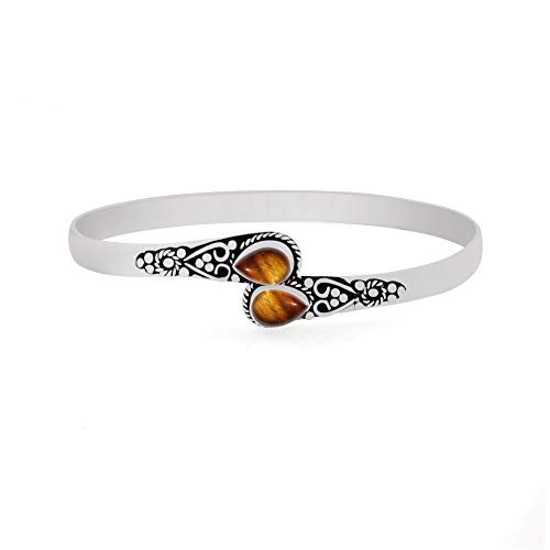 925 Silver Plated Tiger Eye Cuff Bangle 2 Stone Handmade Vintage Boho Style Jewelry for Women Girls ()