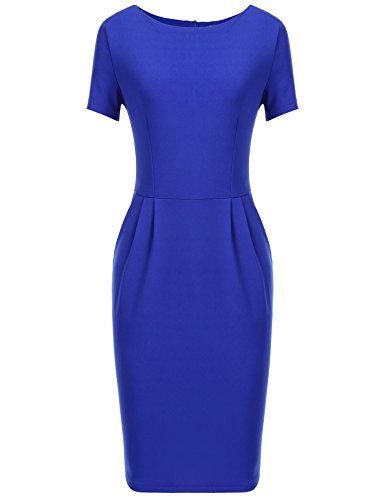 ANGVNS Women High Stretch Pencil Sheath Business Dress with Sleeve, Blue, S ()