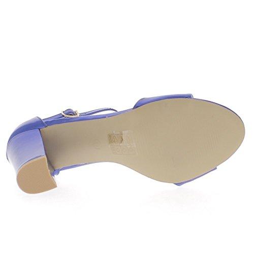 Blu sandali tacco 8, 5cm aspetto metallico piazza
