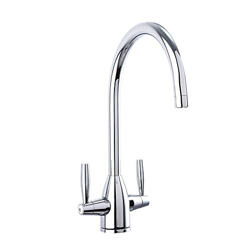 AA Products High-arch Gooseneck Lead-free Solid Brass Two Handle Kitchen Sink Faucet, 360 Degree Swivel Spout Hot and Cold Water Kitchen Faucet, Chrome Finish, 9058 (2 Line Arch)
