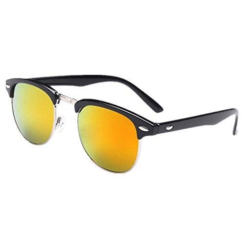 Shiratori Retro Classic Metal Half Frame Color Film Sunglasses Orange (Wayfarer Classic)