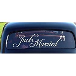 ACCENTORY Just Married Car Decal Window Sticker Window Cling White Decal Sticker for Wedding Day Car Back Window Mirror