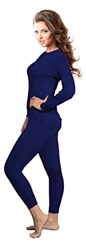 Underwear Bottoms - Rocky Womens Thermal 2 Pc Long John Underwear Set Top and Bottom Smooth Knit (X-Small, Navy)