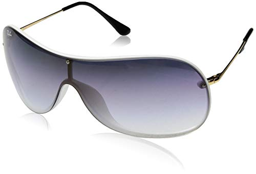 Ray-Ban RB4411 Aviator Sunglasses, White Demigloss/Violet Blue Gradient Mirror, 41 ()