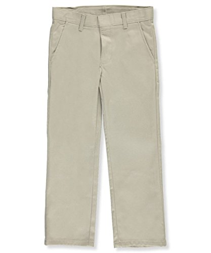 Nautica Big Boys' Uniform Flat Front Pant, Khaki, Small/10
