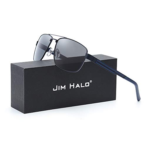 Polarizadas Marco Mujer Azul Aviador Conducir Gafas Polarizado Metal de Cuadrados Lentes Hombre Sol de Gris Anteojos 1cBO1qnpt
